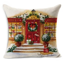 Wholesale Xmas Throw Pillows - High Quality 44 x 44cm The Bakery Christmas Linen Square Throw Flax Pillow Case Decorative Cushion Pillow Cover Happy Xmas Gift