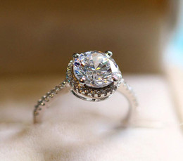 Wholesale Diamond Engagement Rings Ct - US GIA certificate 925 Sterling Silver Jewelry Solid Silver Ring Set 2 Ct Sona CZ Diamond Engagement Wedding Rings for Women