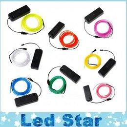 Wholesale El Glow Neon Light - 3M Flexible Neon Light Glow EL Wire Rope Tube Flexible Neon Light 8 Colors Car Dance Party Costume+Controller Christmas Holiday Decor Light