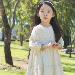 Wholesale Crochet Dress Children - Quality 2016 girls lace dress crochet Long sleeve 100%cotton dress middle kids dresses girls clothing children clothes wholesale 3-8years