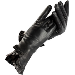Wholesale Black Ladies Winter Gloves - Womens gloves,Floral,Polyester,Genuine Leather,Length 25 cm,Black leather gloves,Ladies gloves,Female gloves,Free shipping