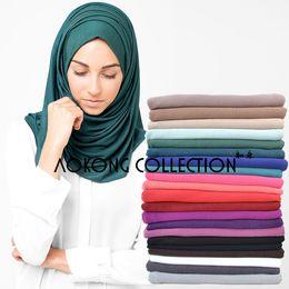 Wholesale Maxi Scarfs - maxi scarf jersey hijab 85*180 cm women modal jersey scarf muslim long head wraps solid hijab stole headbands high quality S522