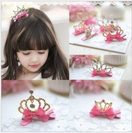 Wholesale Crowns Tiaras Kids Plastic - 2016 Children Crown Hairpin Kids Hair Sticks Baby Tiaras Headbands Girls Princess Bowknot Hair Accessories Cute Girl Birthday Party Gifts