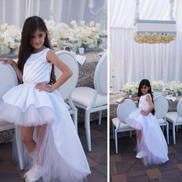 Wholesale Royal Blue Silk Flowers - 2016 White High Low Flower Girls Dresses For Wedding Silk Like Elastic Satin Tulle Pageant Dresses For Girls First Communion Dresses