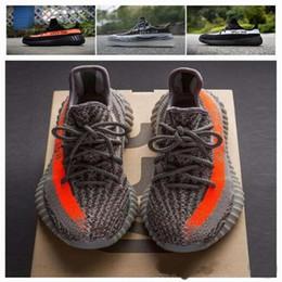 Wholesale Stripe Tops - Top Version SPLY 350 Boost V2 2016 New Kanye West Boost 350 V2 SPLY Season 3 Running Shoes Grey Orange Stripes Sneaker 36-46