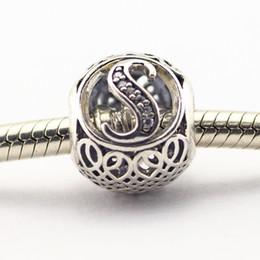 Argentina Vintage S Borrar CZ 019 100% 925 de plata de bolas Fit Pandora joyas de moda del encanto DIY Marca Suministro