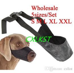 Wholesale Dog Mouth Cover - 5sizes set Dog pet puppy safety mouth cover muzzle adjustable stop bit chew bark Brand New Free Shipping