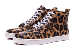Wholesale Leopard Shoes Cheap - Designer 2016 New Flat Red Bottom Shoes For Men Women High Top Luxury Fashion Cheap Floral & Leopard Snakeskin Leather Casual Shoes