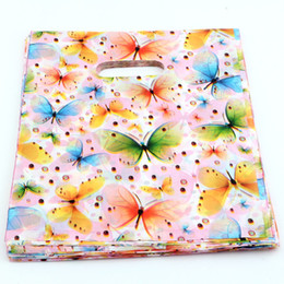 Wholesale Wholesale Pvc Zipper Bag - Hot ! Jewelry Pouches .300pcs 20x25cm butterfly Plastic Bags Jewelry Gift Bag