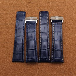 Wholesale Handmade Tags - Polished Durable folding buckle deployment watchband handmade Blue Leather strap 20mm 22mm 24mm Watch Strap Watch accessories