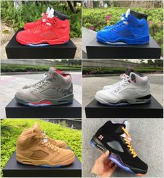 Wholesale Bulls Balls - 2018 Retro 5 V 23 jumpman cheap man wholesale men s basketball shoes sneakers raging bull red blue wool suede basket ball sports shoes boost