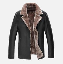 Теплый мех для шеи для мужчин онлайн-2018 горячая продажа теплая роскошная искусственная кожа с меховой курткой отворотом шеи мужская искусственная кожа Gentlement флис лайнер Мужская верхняя одежда пальто