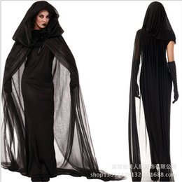 Wholesale Woman Ghost Costume - Wholesale-Plus size Ghost bride black dress Adult Broomstick sexy Witch Costume Halloween Cosplay dress for women Club wear party costumes