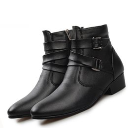 Wholesale British Bowtie Style - New british style casual men autumn ankle boots heels fashion pointed toe Martin Boots Men Leather Boots Shoes men