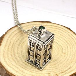 casella di tardis Sconti Classico dottore Who TARDIS Police Box ciondolo argento antico placcato dichiarazione collana Vintage cristallo strass collane