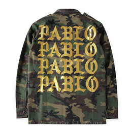 Wholesale Military Trench Coats - Kanye West Season 3 PABLO Camo Jacket Mens Cool Military Coaches Jackets Single Breasted Trench Coat Winter Long Outwear YBF0936