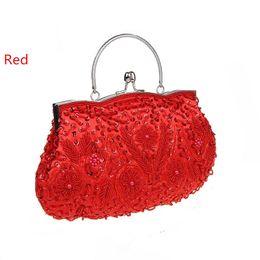 Wholesale Cheongsam Red Women - Explosion models retro portable hand-beaded bag beaded bag rare package banquet package package cheongsam dress package