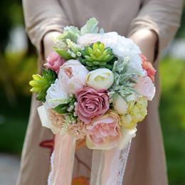 2018 Plantas suculentas Ramo Elegantes flores de la boda Flores de seda artificiales Damas de honor Ramo de la boda Romántico Ramo nupcial desde fabricantes