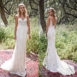 vestidos de comprimento corset Desconto 2019 Sexy Spaghetti Straps Backless sereia vestidos de casamento estilo country comprimento total de renda espartilho vestido de noiva