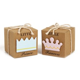 Wholesale Princess Moves - 5*5*5cm Prince Princess Mini Kraft Paper Box Baby Shower Birthday Party Favors Candy Boxes For Weding Party Favors And Gifts 12x