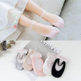 chicas coreanas calcetines encaje Rebajas Bebés de la princesa los calcetines del barco de primavera y verano Nueva Corea algodón dulce cordón de los niños Los niños invisibles los calcetines cortos de danza para niños pequeños sólido de color