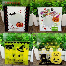 Wholesale Paper Snack Bags - Halloween Christmas Theme Cookie Packaging Colorful Bottles Self Adhesive Plastic Bags For Biscuits Snack Baking Bag 95pcs lot CCA7148 70lot