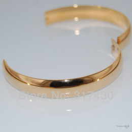 Wholesale Womens Solid Gold Bangles - wholesale retail hot selling SOLID 18K Yellow GOLD Filled Round womens Plain BANGLE & bracelet 60mm.10mm wide Fashion jewelry