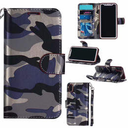 Wholesale Camo Wallets - Wallet Leather Camo Camouflage Case For iPhone 7 6 Plus 5 5s Samsung S6 S7 Edge Card Slot Cash Skin Holder Flip Stand Case Cover