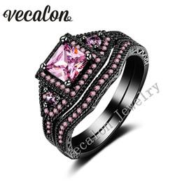 Черное кольцо розовые бриллианты онлайн-Vecalon Тремди обручальное кольцо Кольцо набор для женщин розовый сапфир имитация Алмаз Cz 10KT черного золота заполнены женские обручальное кольцо
