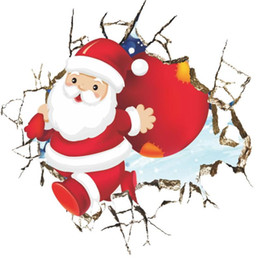 Wholesale Famous Posters - christmas wall stickers room decor cartoon smashed breaking Santa Claus mural art home decals posters kids bedroom decor