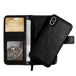 Wholesale Detachable Wallet - For iphone X 7 6 plus 2 in 1 Magnetic Magnet Detachable Removable Wallet Leather case Cover iphone 8 Edition 5 SE DHL free shipping SCA312