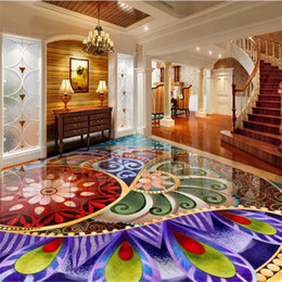 Wholesale Wholesale Vinyl Flooring - Wholesale- 3d wallpaper custom pvc vinyl floor wallpaper 3d stereoscopic sailboat Hotels Waterproof self adhesive floor tiles