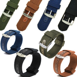 Wholesale 22mm Nylon Watch Strap - Hot Sale 18mm 20mm 22mm 24mm Nylon Watch Bands Strap 4 Color Mens Women Wristwatch Bands With Stainless Steel Watch Buckle Clasp
