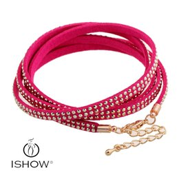 Wholesale Tennis Wristbands Wholesale - Women Leather Crystal Rivet Multilayers Bracelets Rose Leather Wrap Wristband Cuff Punk Bracelet Bangles Fit Party Best Gift
