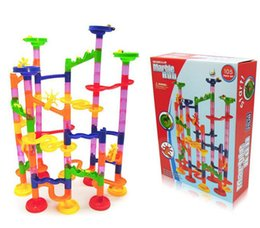 Wholesale Toy Marble Wholesalers - 2016 new Home toy 105PCS DIY Construction Marble Race Run Maze Balls Track Building Blocks free shipping