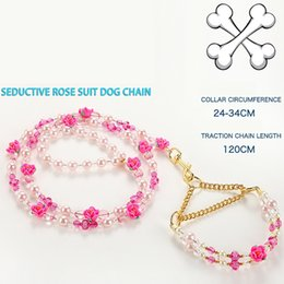 Wholesale Dog Leashes Collars Bling - Dogs Harness bling pet Dog Jeweled Rose Handle Set Traction P Rope cats pearls chain lead Pet Dog Traction Rope Leash Trainging