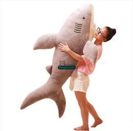 Wholesale Christmas Animals Play - Dorimytrader 160cm JUMBO Soft Simulated Animal Shark Plush Toy 63'' Huge Stuffed Sharks Kids Play Doll Pillow Baby Gift DY61355