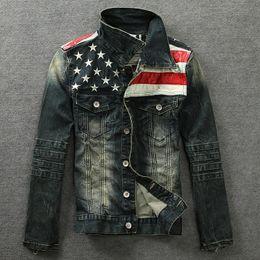 Wholesale Leather Jean Jacket Xl - Fall-2016 new Denim jacket PU leather patchwork distressed antique mens denim jean jacket
