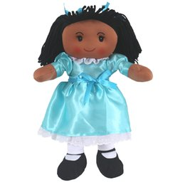 Wholesale Wool Western Skirt - 16 inch cute inch black skin girl doll girl birthday gift green skirt cute plush doll Barbie doll