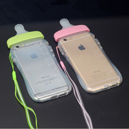 Wholesale Nipple Fittings - New Arrival Back Cover for iPhone7 Baby Nipple Bottle Clear Transparent soft Silicone TPU Phone Cases For iPhone 5 5s se 6 6S 7 Plus cases