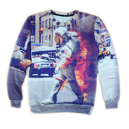 Мужчины онлайн-Wholesale-2016 harajuku style sweatshirt men/women 3d hoodies print character astronaut pullover hoodie mens punk sweatshirt clothing