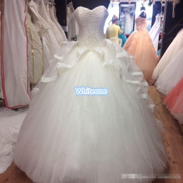 Wholesale Actual Tulle Ball - Actual Image White Quinceanera Dresses Vestidos De 15 Anos Pearls Tulle Lace Sweet 16 Dress Cheap Prom Ball Gowns Corset 2016 Custom Made
