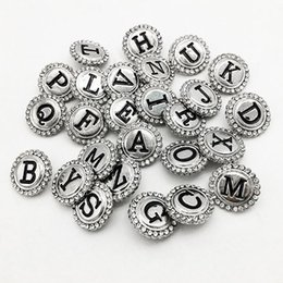 Wholesale Gold Zodiac Necklace - Zm8009 Alphabet Metal Snap Button For Bracelet 26pcs lot DIY Jewelry making Fit for necklace bracelet ring