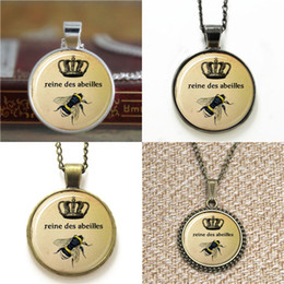 Wholesale Crown Bookmarks - 10pcs Queen Bee Royal Crown Insect Art Pendant Bee Jewelry Necklace keyring bookmark cufflink earring bracelet