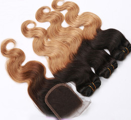 Wholesale Cheapest Human Hair Weaves - Cheapest Ombre Brazilian Human Hair,Lace closure and 2 3 hair bundles,two tone ombre hair body wave,4x4 lace closure