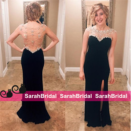 Wholesale Short Dresses For Teenagers - 2k16 Sparkly Prom Dresses for Juniors Teenagers Sweet 15 16 Girls Dance Formal Wear Sale Cheap Sweetheart Sheer Crew Neck Slit Evening Gowns