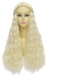 Wholesale Iced Events - A Song of Ice and Fire Fibre hair Wig Hair Hairpiece Daenerys Targaryen Blonde Long Curly Braids Cosplay Wig party event props