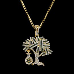 Wholesale Pendant Gold Dollar - New Brand Mens Hip-hop Dollars Tree Pendant Necklace High Grade Alloy Full Rhinestone Money Bags Pendant Hip hop Necklace Rap Punk Jewelry