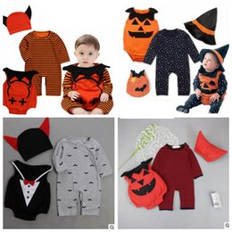 Wholesale Devil Suits - halloween baby clothes hat rompers vest 3pcs sets newborn jumpsuits toddler overalls baby suit devil vampire pumpkin Cosplay Outfit KKA2398
