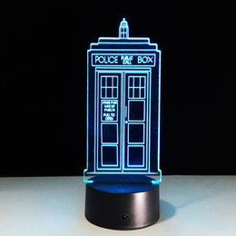 Lampade per telefono online-Cabina telefonica 3D Illusion 3D Night Lampada 3D Optical Battery DC 5V all'ingrosso Spedizione gratuita